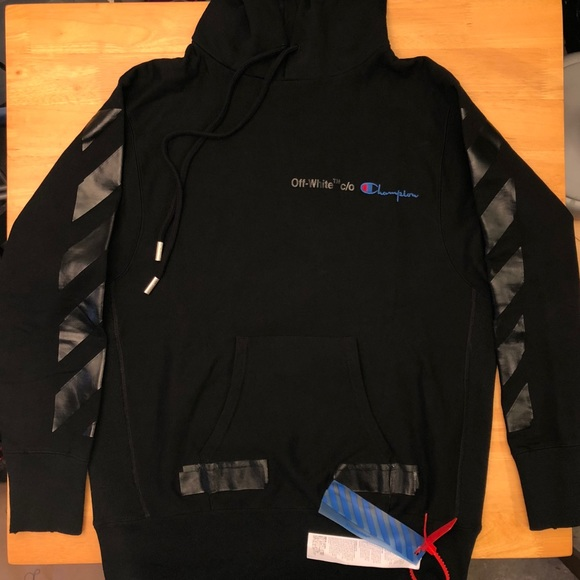 22feab3c7d59 Off White x Champion Black Hoodie Size L